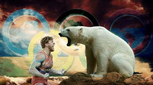 Белый медведь и Олимпийский чемпион Артур Алексанян